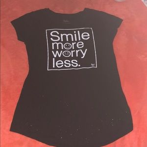 "Justice T-shirt ""Smile more Worry less."""